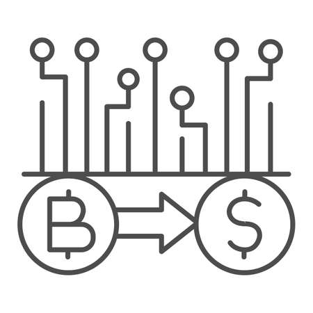 Convert Bitcoin to dollar thin line icon, Cryptocurrency technology concept, bitcoin exchange, bitcoin mining sign on white background, Currency conversion icon in outline style. Vector graphics. Illustration