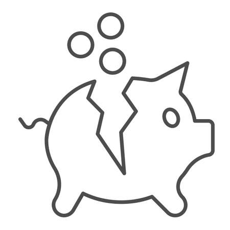 Broken piggy bank with coins thin line icon, Payment problem concept, Moneybox sign on white background, Piggy bank with money icon in outline style for mobile and web design. Vector graphics.
