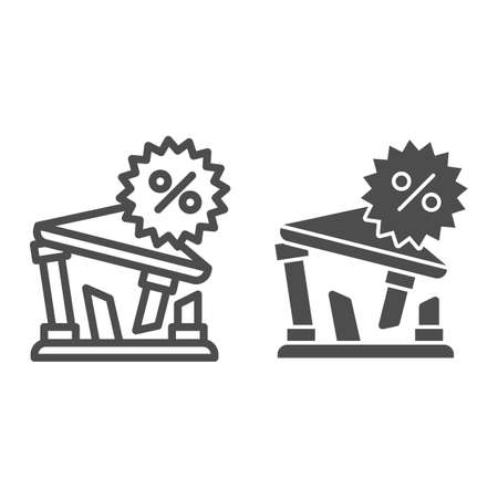 Building and percentage line and solid icon, Payment problem concept, Rate for mortgage sign on white background, bank ruin with percent symbol icon in outline style for mobile, web. Vector graphics. Illustration