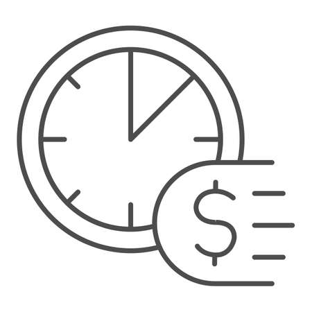 Clock and dollar thin line icon, Payment problem concept, Time is a money sign on white background, deadline for payment icon in outline style for mobile concept and web design. Vector graphics.