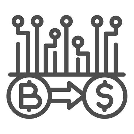 Convert Bitcoin to dollar line icon, Cryptocurrency technology concept, bitcoin exchange, bitcoin mining sign on white background, Currency conversion icon in outline style. Vector graphics. Illustration