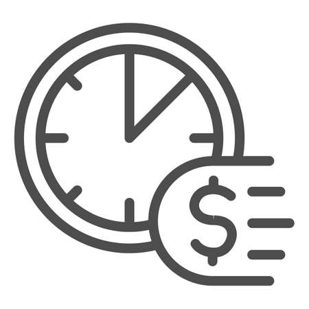 Clock and dollar line icon, Payment problem concept, Time is a money sign on white background, deadline for payment icon in outline style for mobile concept and web design. Vector graphics.