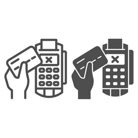 Credit card in hand and POS terminal line and solid icon, Payment problem concept, payment denial sign on white background, Cancellation purchase in POS terminal icon outline style. Vector graphics.