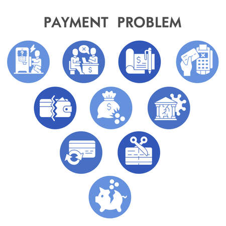 Modern Payment problem Infographic design template with icons. Commerce and banking problems Infographic visualization on white background. Creative vector illustration for infographic.
