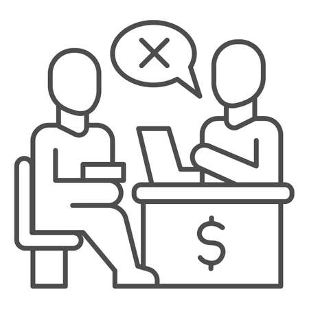 Bank manager refuses a loan for person thin line icon, Payment problem concept, Loan refusal sign on white background, refuse in credit icon in outline style for mobile and web. Vector graphics.