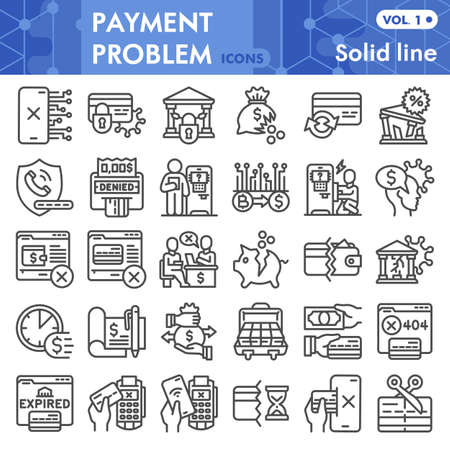 Payment problem line icon set, banking symbols collection or sketches. Money management problem linear style signs for web and app. Vector graphics isolated on white background.