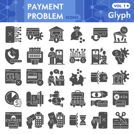 Payment problem solid icon set, banking symbols collection or sketches. Money management problem glyph style signs for web and app. Vector graphics isolated on white background.