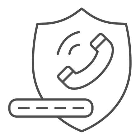 Handset on shield and pin code thin line icon, banking service concept, Secure phone call sign on white background, shield with telephone icon in outline style for mobile, web. Vector graphics.