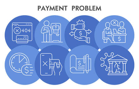 Modern Payment problem Infographic design template with icons. Money management problems Infographic visualization in bubble design on white background. Creative vector illustration for infographic.