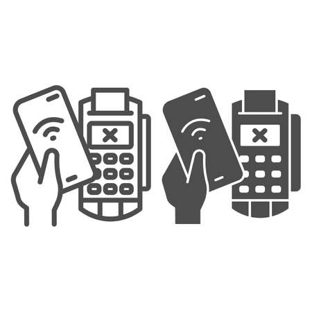 Smartphone in hand and payment terminal line and solid icon, Payment problem concept, declined mobile payment sign on white background, Cancellation purchase in POS terminal icon in outline. Vector.