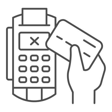 Credit card in hand and POS terminal thin line icon, Payment problem concept, payment denial sign on white background, Cancellation purchase in POS terminal icon outline style. Vector graphics.