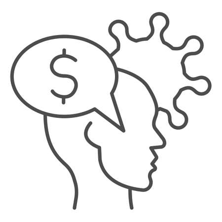 Human head with dollar and virus thin line icon, finance problems concept, Money Idea sign on white background, Money in person mind and bacteria cell icon in outline style. Vector graphics.