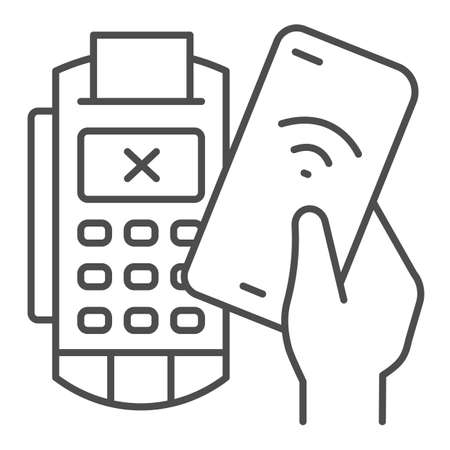 Smartphone in hand and payment terminal thin line icon, Payment problem concept, declined mobile payment sign on white background, Cancellation purchase in POS terminal icon in outline. Vector.
