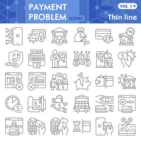 Payment problem thin line icon set, banking symbols collection or sketches. Money management problem linear style signs for web and app. Vector graphics isolated on white background.