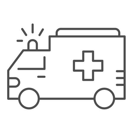 Ambulance thin line icon, Public transport concept, first-aid car sign on white background, ambulance car icon in outline style for mobile concept and web design. Vector graphics.