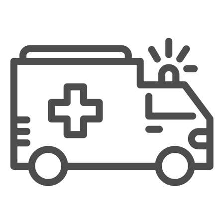 Ambulance line icon, Public transport concept, first-aid car sign on white background, ambulance car icon in outline style for mobile concept and web design. Vector graphics.  イラスト・ベクター素材