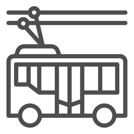 Trolleybus line icon, Public transport concept, trackless trolley sign on white background, tram silhouette icon in outline style for mobile concept and web design. Vector graphics.