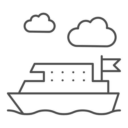 Ferry thin line icon, Public transport concept, ferry ship transportation sign on white background, Boat on the sea icon in outline style for mobile concept and web design. Vector graphics.