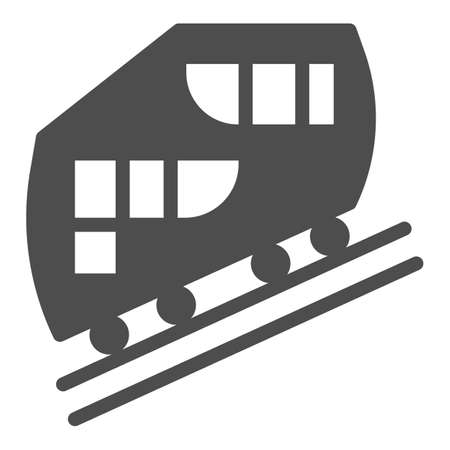 Funicular railway solid icon, Public transport concept, cable-railway sign on white background, cableway icon in glyph style for mobile concept and web design. Vector graphics.