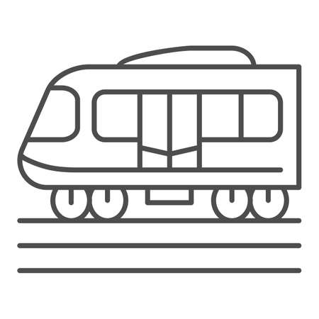 Electric train thin line icon, Public transport concept, Subway sign on white background, high speed train icon in outline style for mobile concept and web design. Vector graphics.