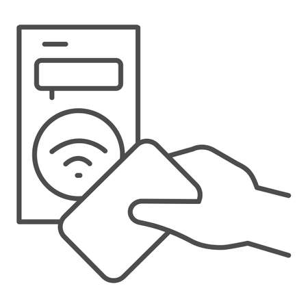 Ticket terminal for wireless payments thin line icon, transport concept, Terminal and passenger transport card sign on white background, Transport payment gate icon in outline. Vector graphics.
