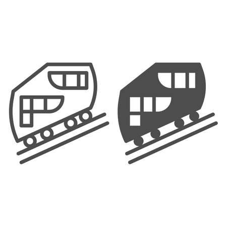 Funicular railway line and solid icon, Public transport concept, cable-railway sign on white background, cableway icon in outline style for mobile concept and web design. Vector graphics. Stock Illustratie