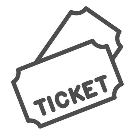Tickets line icon, Public transport concept, transport ticket sign on white background, two tickets icon in outline style for mobile concept and web design. Vector graphics.