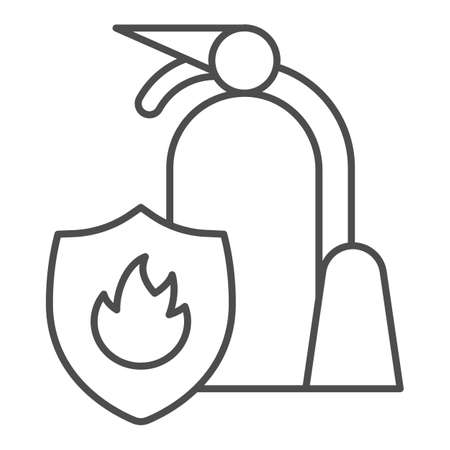 Fire extinguisher with shield thin line icon, Public transport concept, firefighter sign on white background, equipment for extinguishing fire in transport icon in outline style. Vector graphics. Illustration