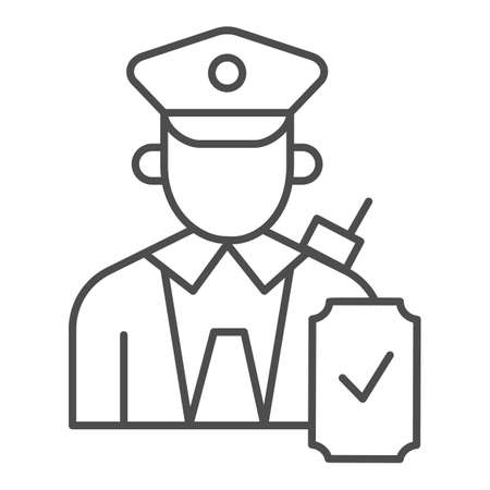 Person in uniform with checkmark thin line icon, Public transport concept, Railway worker sign on white background, train conductor icon in outline style for mobile, web design. Vector graphics.