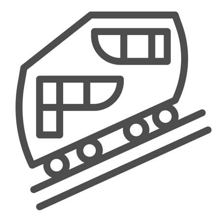 Funicular railway line icon, Public transport concept, cable-railway sign on white background, cableway icon in outline style for mobile concept and web design. Vector graphics.