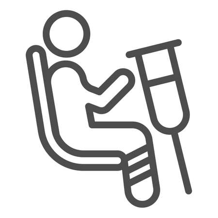 Place for disabled people line icon, Public transport concept, Priority seating sign on white background, person in chair with crutches icon in outline style. Vector graphics.