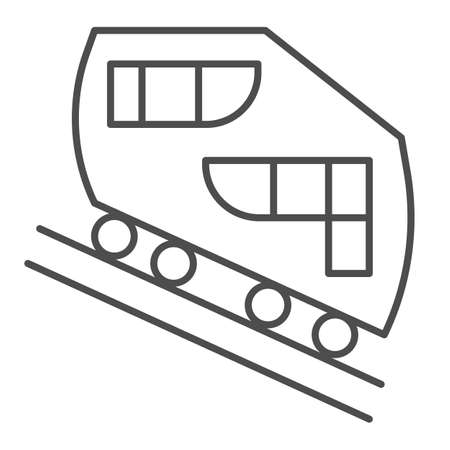 Funicular railway thin line icon, Public transport concept, cable-railway sign on white background, cableway icon in outline style for mobile concept and web design. Vector graphics.