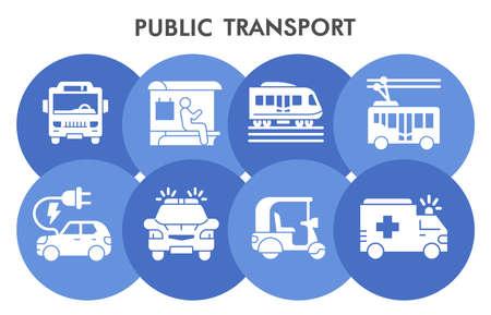Modern public transport Infographic design template with icons. Public transportation Infographic visualization in bubble design on white background. Creative vector illustration for infographic. Ilustração