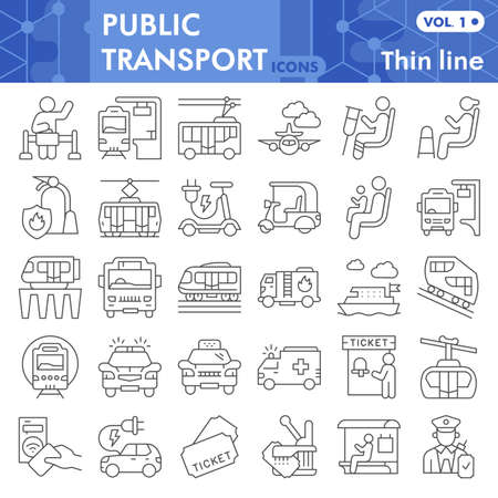 Public transport thin line icon set, Traffic symbols collection or sketches. Passenger and public transportation linear style signs for web and app. Vector graphics isolated on white background.