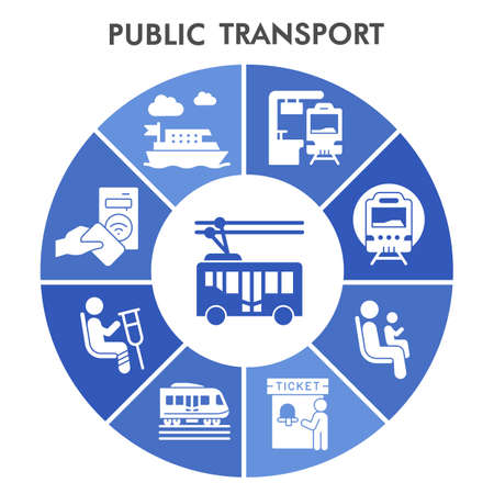 Modern Passenger and public transportation Infographic design template with icons. City transport Infographic visualization on white background. Creative vector illustration for infographic. Illustration