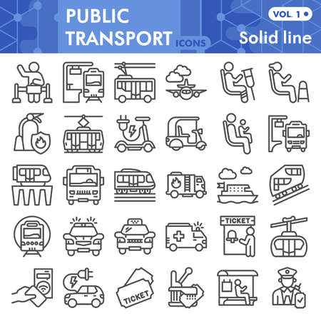 Public transport line icon set, Traffic symbols collection or sketches. Passenger and public transportation linear style signs for web and app. Vector graphics isolated on white background.