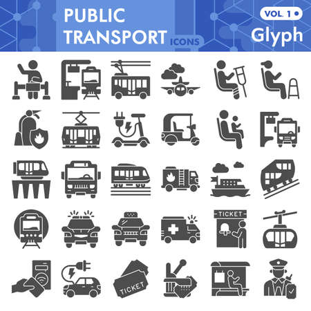 Public transport solid icon set, Traffic symbols collection or sketches. Passenger and public transportation glyph style signs for web and app. Vector graphics isolated on white background. Illustration