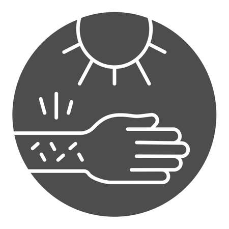 Hand with irritate skin and sun solid icon, Allergy concept, Allergy to sunburn sign on white background, sensitive skin to sun icon in glyph style for mobile, web design. Vector graphics.