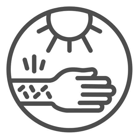 Hand with irritate skin and sun line icon, Allergy concept, Allergy to sunburn sign on white background, sensitive skin to sun icon in outline style for mobile, web design. Vector graphics. 일러스트