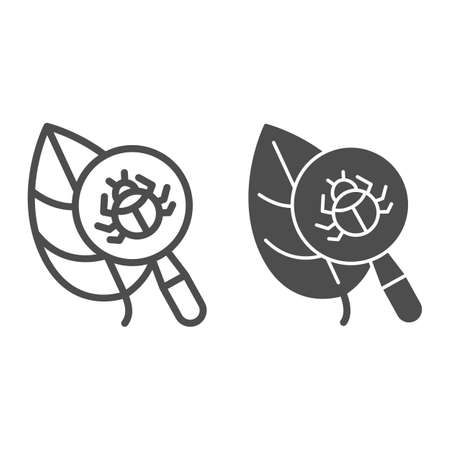 Beetle under magnifying glass on leaf line and solid icon, Allergy concept, Insect under magnifier sign on white background, Search parasites under magnifier icon in outline style. Vector graphics.