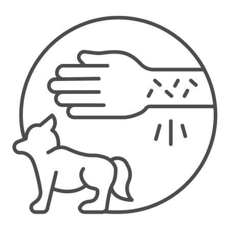 Hand with irritate skin and dog thin line icon, Allergy concept, Animal allergies sign on white background, Allergic reaction to animals icon in outline style for mobile and web. Vector graphics.