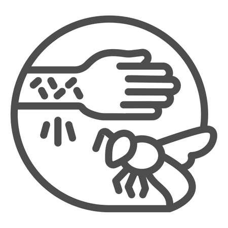 Wasp sting allergy line icon, Allergy concept, Allergies to insect stings sign on white background, Hand with irritate skin and bee icon in outline style for mobile and web. Vector graphics.