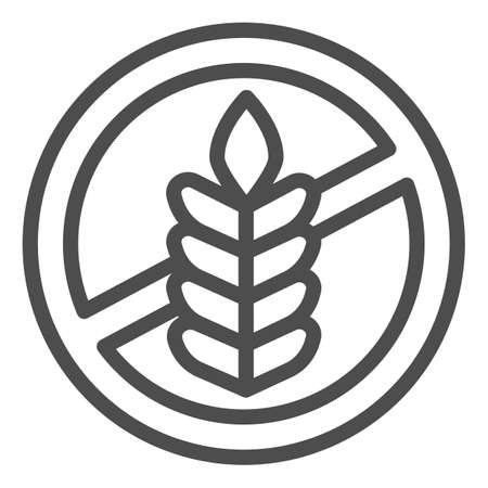 Food allergy to wheat line icon, Allergy concept, Gluten free sign on white background, branch with grain icon in outline style for mobile concept and web design. Vector graphics. 矢量图像