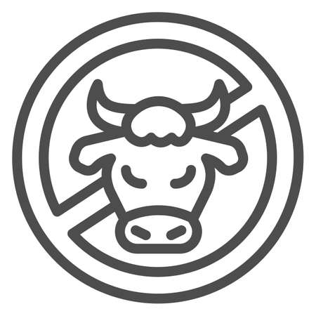 Cow head in crossed circle line icon, Allergy concept, No milk and lactose sign on white background, Forbidden dairy with cow head icon in outline style for mobile and web. Vector graphics.