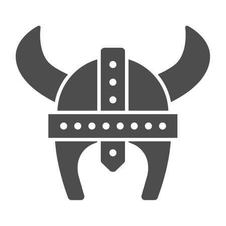 Medieval helmet with horns solid icon, war concept, Horned helmet sign on white background, viking helmet icon in glyph style for mobile concept and web design. Vector graphics. Illustration