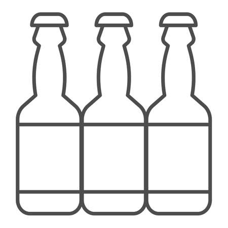 Beer bottles thin line icon, brewery concept, bottle of alcohol sign on white background, three beer bottles icon in outline style for mobile concept and web design. Vector graphics.