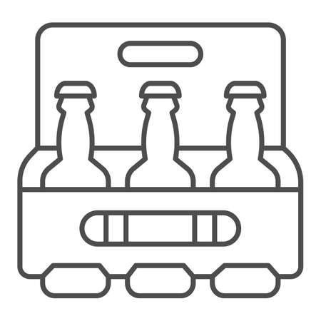 Box of beer thin line icon, beverage concept, case of beer with three bottles sign on white background, Pack of bottles icon in outline style for mobile concept, web design. Vector graphics.