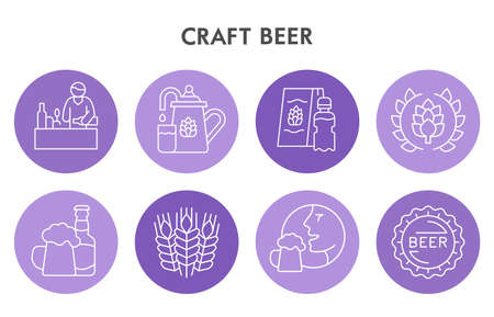 Modern Craft beer Infographic design template with icons. Beer Infographic visualization on white background. Brewing template for presentation. Creative vector illustration for infographic.