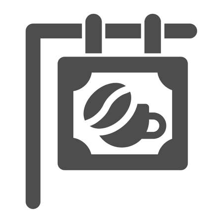 Signboard with bean and cup solid icon, Coffee time concept, Coffee shop or cafe banner sign on white background, street coffee house signboard icon in glyph style. Vector graphics.  イラスト・ベクター素材