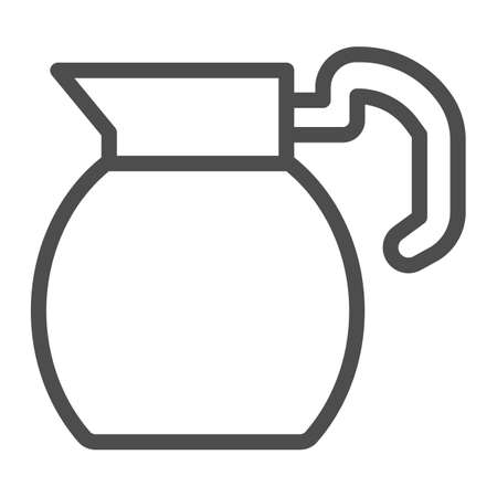 Water pitcher line icon, Coffee time concept, Ceramic jug sign on white background, Fresh Milk or Water pitcher icon in outline style for mobile concept and web design. Vector graphics.